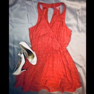 Candie's Coral Lace Surplice Dress